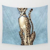 pastel goth Wall Tapestries featuring Goth Cheetah by Sinccolor