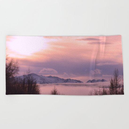 Rose Serenity Winter Fog Beach Towel