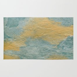 Copper Turquoise Abstract Face Beautiful Sadness #01 Rug