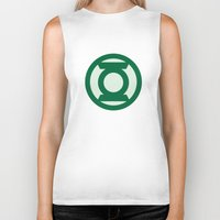 green lantern Biker Tanks featuring Green Lantern by DeBUM