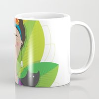 frida Mugs featuring Frida by marcos bernardes