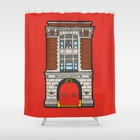 ghostbusters Shower Curtains featuring Ghostbusters Fire Station by evannave