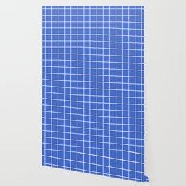 Han blue - blue color - White Lines Grid Pattern Wallpaper