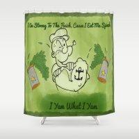 popeye Shower Curtains featuring Popeye  by ItalianRicanArt