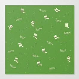 Scorpio Pattern - Green Canvas Print
