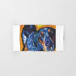 Fun BLUETICK COONHOUND Dog bright colorful Pop Art painting by Lea Hand & Bath Towel