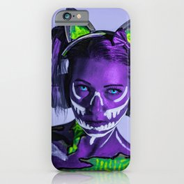 Cyber Cat Girl Contacts Fantasy Neon Blacklight iPhone Case