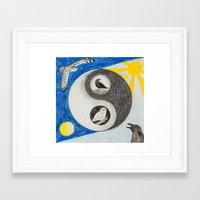 yin yang Framed Art Prints featuring  Yin & Yang  by Owl Art Suri