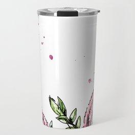 Leaves Pink and green Travel Mug