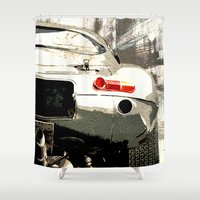 1975 Shower Curtains featuring Jaguar E-TYpe by Fernando Vieira