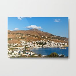 The picturesque village of Batsi in Andros, Greece Metal Print