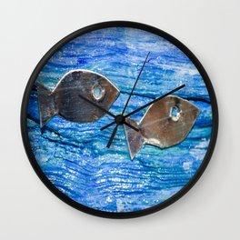 Tin Fish on Acrylic Painted Driftwood Wall Clock