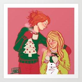 Hollence & Christmas Sweaters Art Print