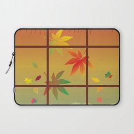 Falling Leaves on Window Pane Laptop Sleeve