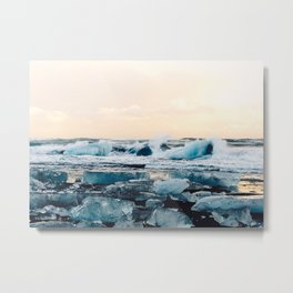 Waves Crashing on the Ice of Diamond Beach, Iceland at Sunset Metal Print