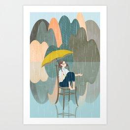 Lonely Girl In Rain Day Art Print