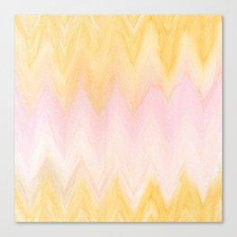 Modern hand painted pink yellow watercolor chevron ikat Canvas Print