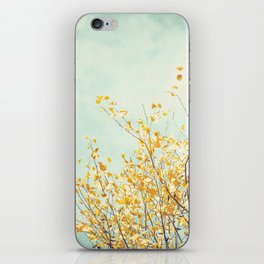 Yellow Tree Leaves Mint Sky Photography, Nature Turquoise Teal Gold Aqua iPhone Skin