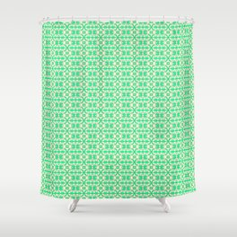 Granny Apple Green Angular Abstract X on Butter Cream Yellow Country Kitchen Design Pattern Shower Curtain
