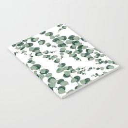 Eucalyptus leaves in white Notebook