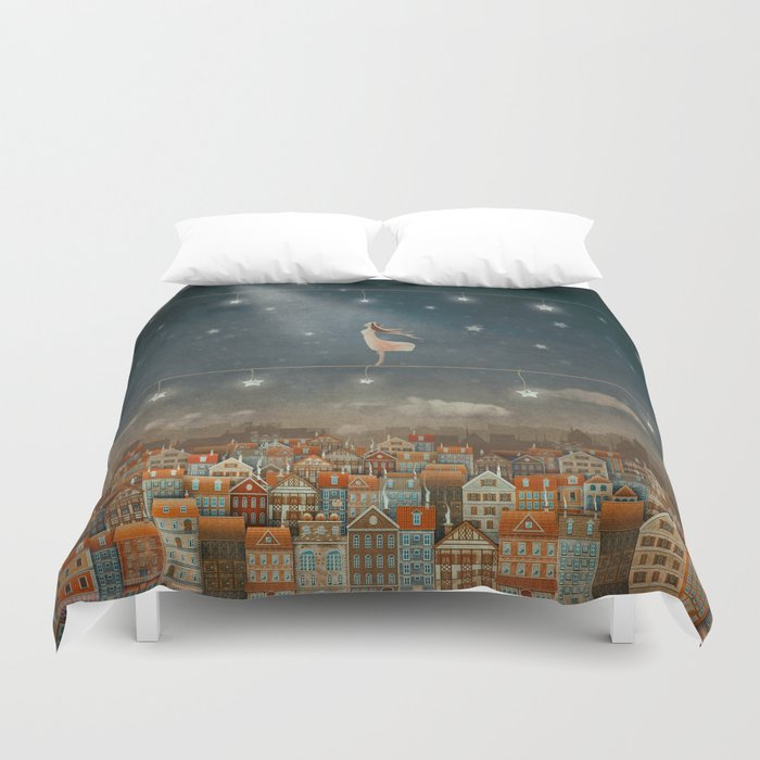 Illustration of  cute houses and  pretty girl   in night sky Duvet Cover