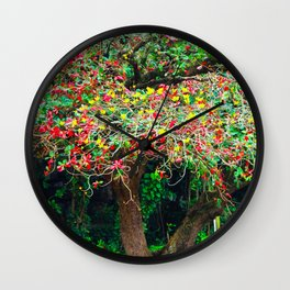 big tree with green yellow and red leaves Wall Clock