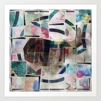 kandinsky Art Prints featuring whale in reassembled Kandinsky by Osome Beamer