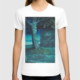 Kawase Hasui Vintage Japanese Woodblock Print Moonlight Shadows Under A Tall Tree Wooden Shrine T-shirt