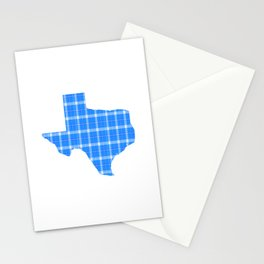 Texas State Shape: Blue Plaid Stationery Cards