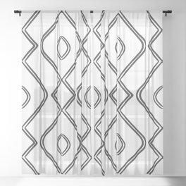 Modern Boho Ogee in Black and White Sheer Curtain