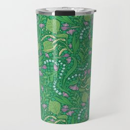 Lilies of the valley and crocuses on green background Travel Mug