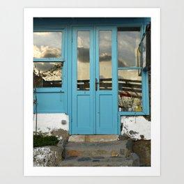turquoise door in bodrum Art Print