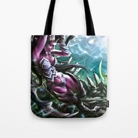 warcraft Tote Bags featuring Apocalypse by Steuer Catherine