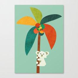 Koala on Coconut Tree Canvas Print