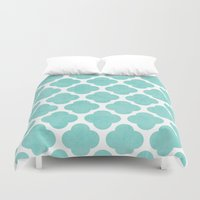 clover Duvet Covers featuring teal clover by her art