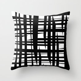 Geometric rectangles lines - black white Throw Pillow