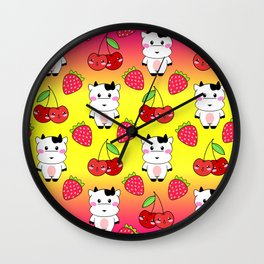 Cute funny sweet adorable happy baby cows, little cherries and red ripe summer strawberries cartoon fantasy bright sunny yellow pink pattern design Wall Clock