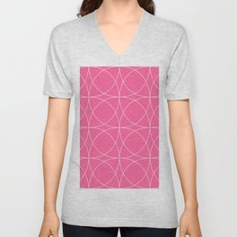 Hot Pink Concentric Circles Sassy Sophisticate Pattern Unisex V-Neck