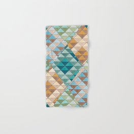 Triangle Patter No.15 Shifting Teal and Yellow Hand & Bath Towel