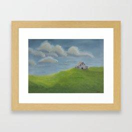 Distant Barn on a Cloudy Day Framed Art Print