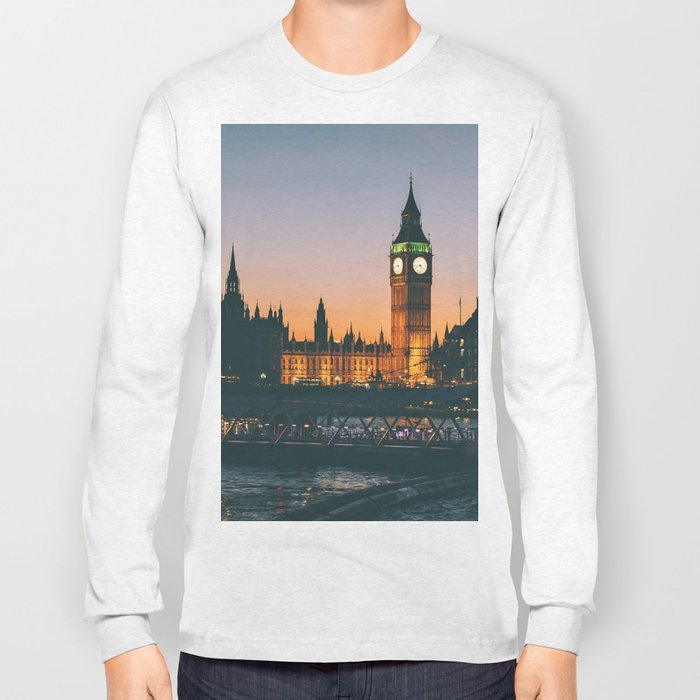 London during Sunset on the Water Long Sleeve T-shirt