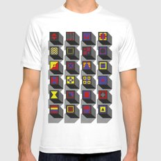 blocks SMALL White Mens Fitted Tee