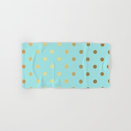 Gold polka dots on aqua background - Luxury turquoise pattern Hand & Bath Towel