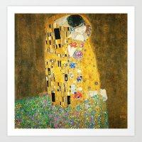 gustav klimt Art Prints featuring Gustav Klimt The Kiss by Art Gallery