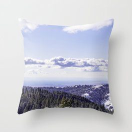 Mountain snow alpine landscape great time for snowboarding and skiing. Throw Pillow