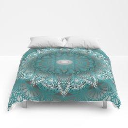 Turquoise Flower Mandala Comforters