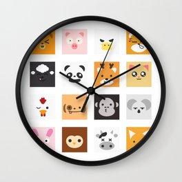 Animal Faces Wall Clock