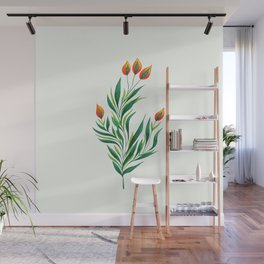 Abstract Green Plant With Orange Buds Wall Mural