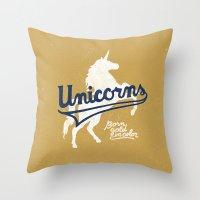 unicorns Throw Pillows featuring Unicorns by WEAREYAWN