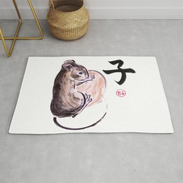 A mouse with a nut and a hieroglyph colored sumie ink painting Rug
